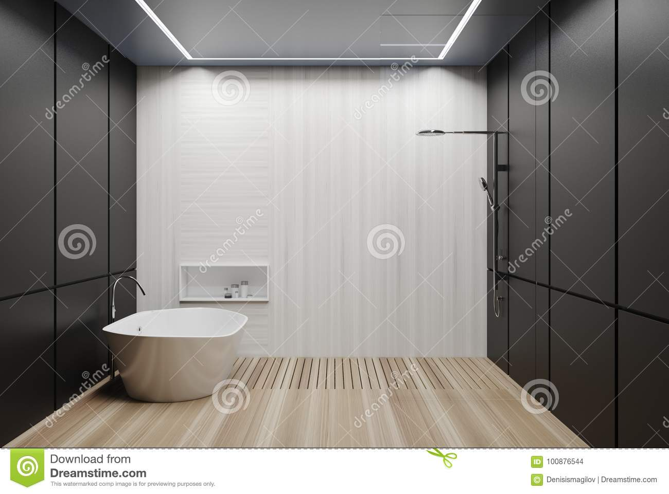 Gray And White Tiled Bathroom, Tub And Shower Stock Illustration ...