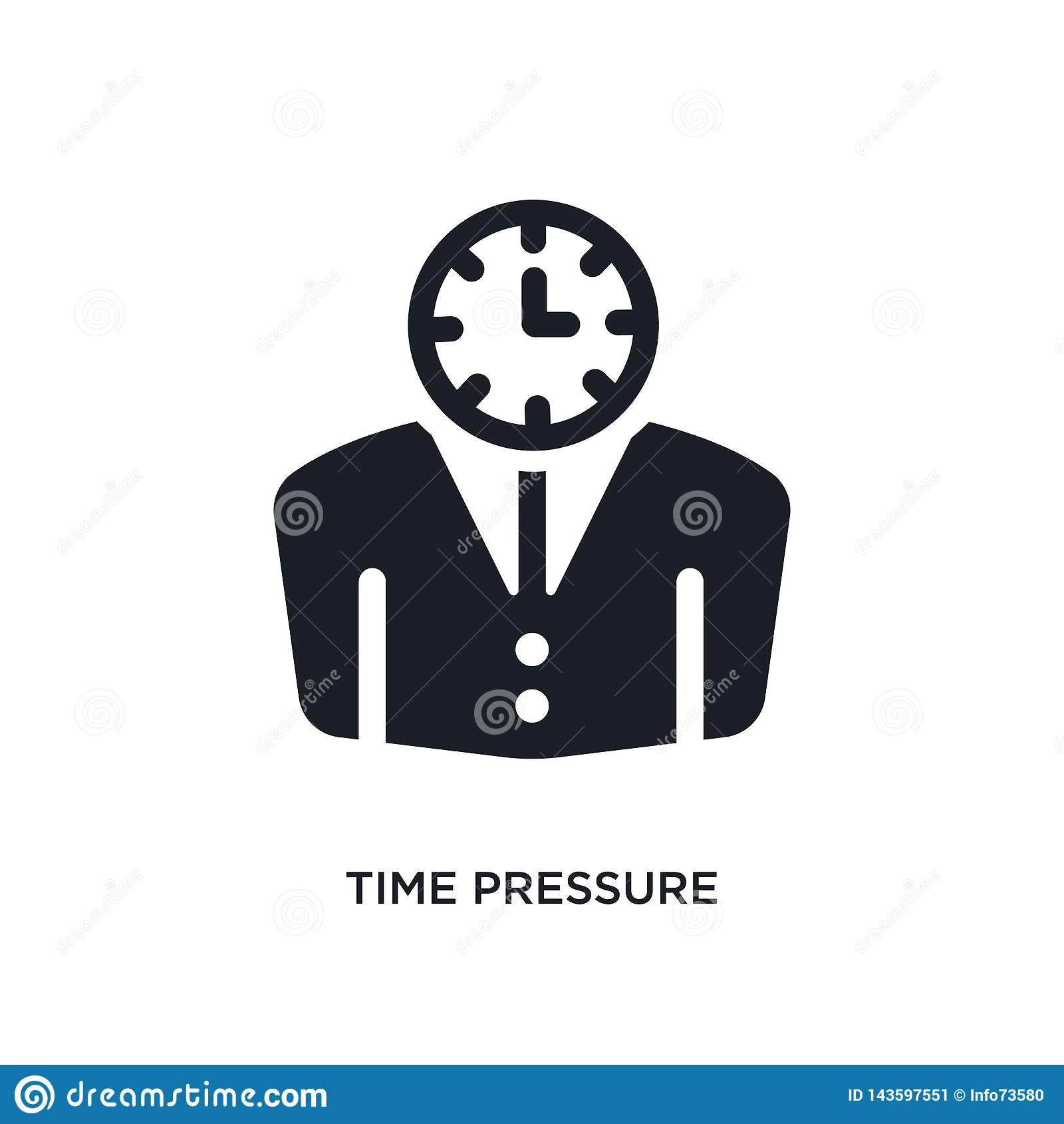 black time pressure isolated vector icon. simple element illustration from time management concept vector icons. time pressure