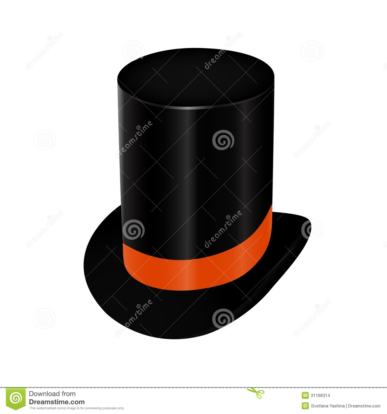 12aeadcb7a5 Vector illustration of black top hat with orange ribbon isolated on white  background