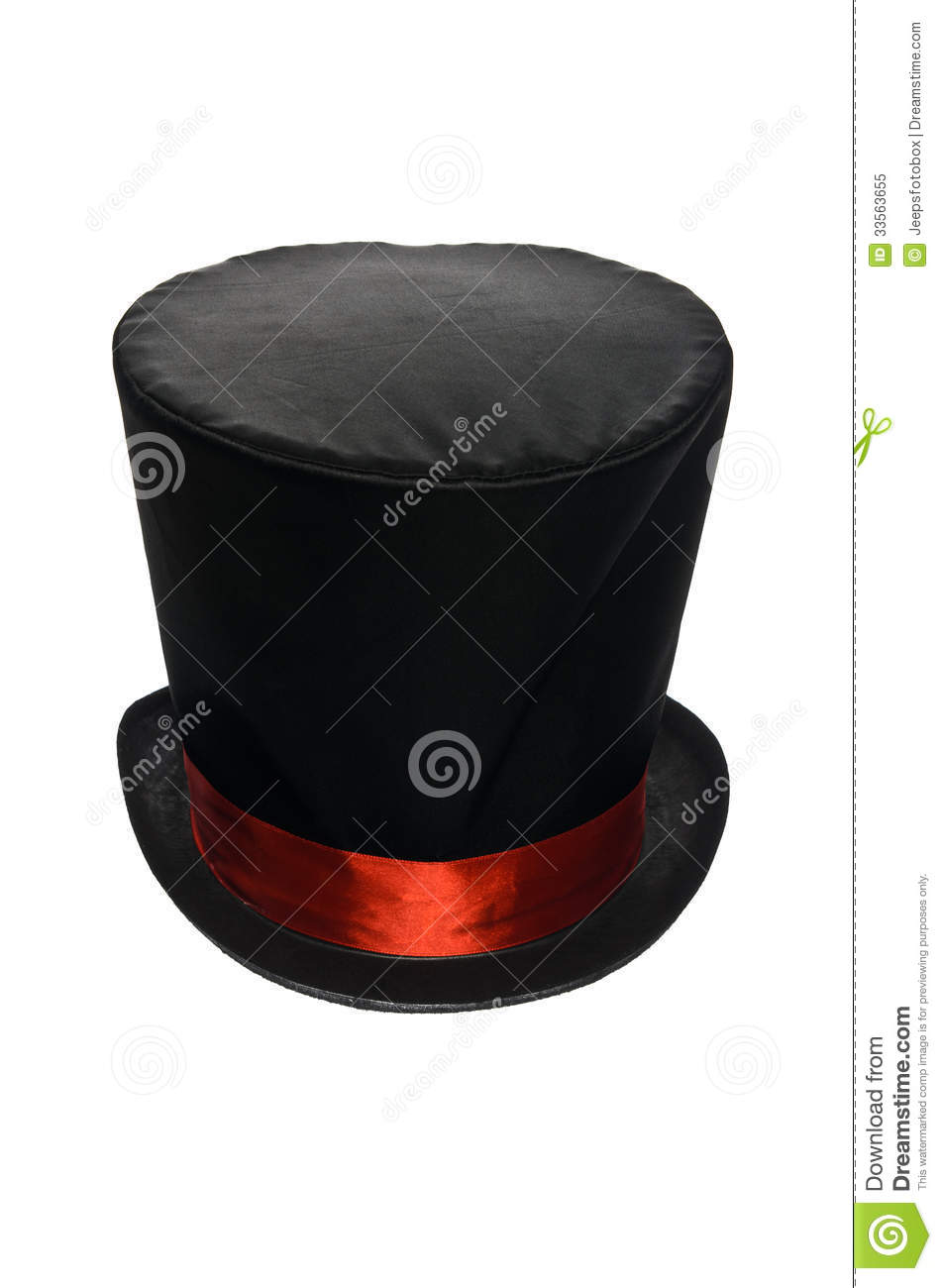 079932d4a5a Black Top Hat With Red Ribbon Stock Image - Image of white