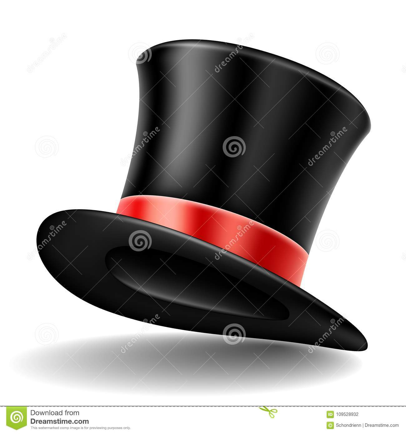 ecd816ed7ba Black Top Hat With Red Ribbon
