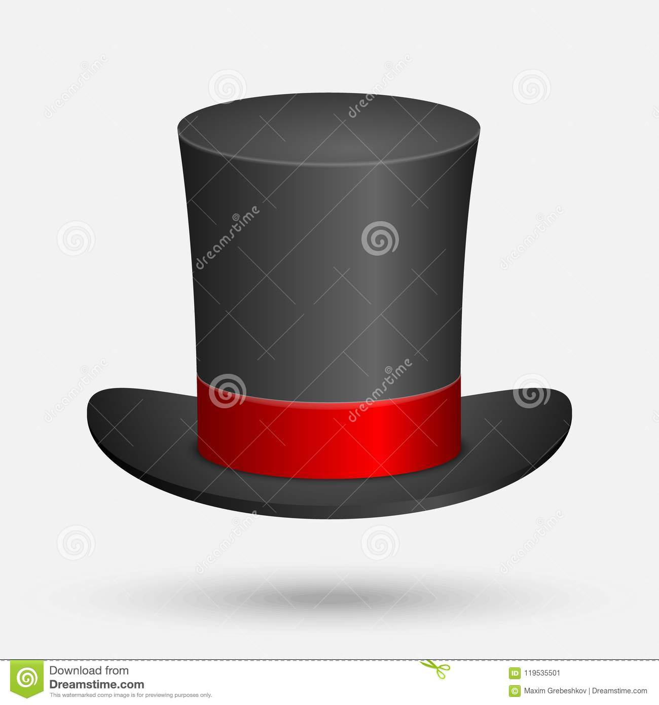 32c4a2328fd Black Top Hat isolated stock vector. Illustration of bowler - 119535501