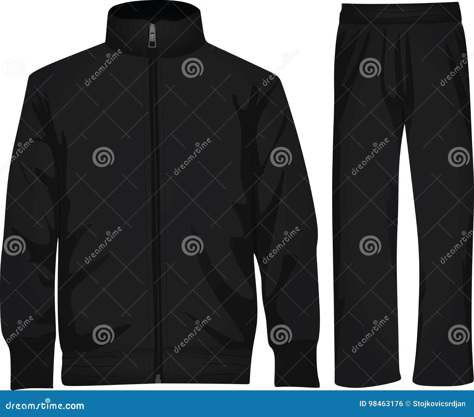 496af123f9fe Black tracksuit stock vector. Illustration of fabric - 98463176