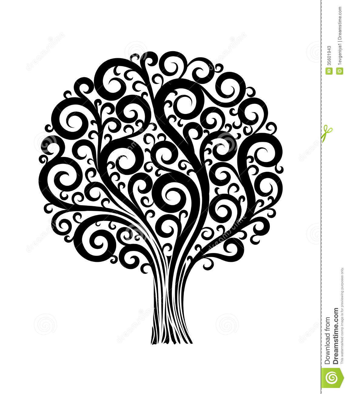 Black tree in flower design with swirls and flouri stock vector black tree in flower design with swirls and flouri mightylinksfo