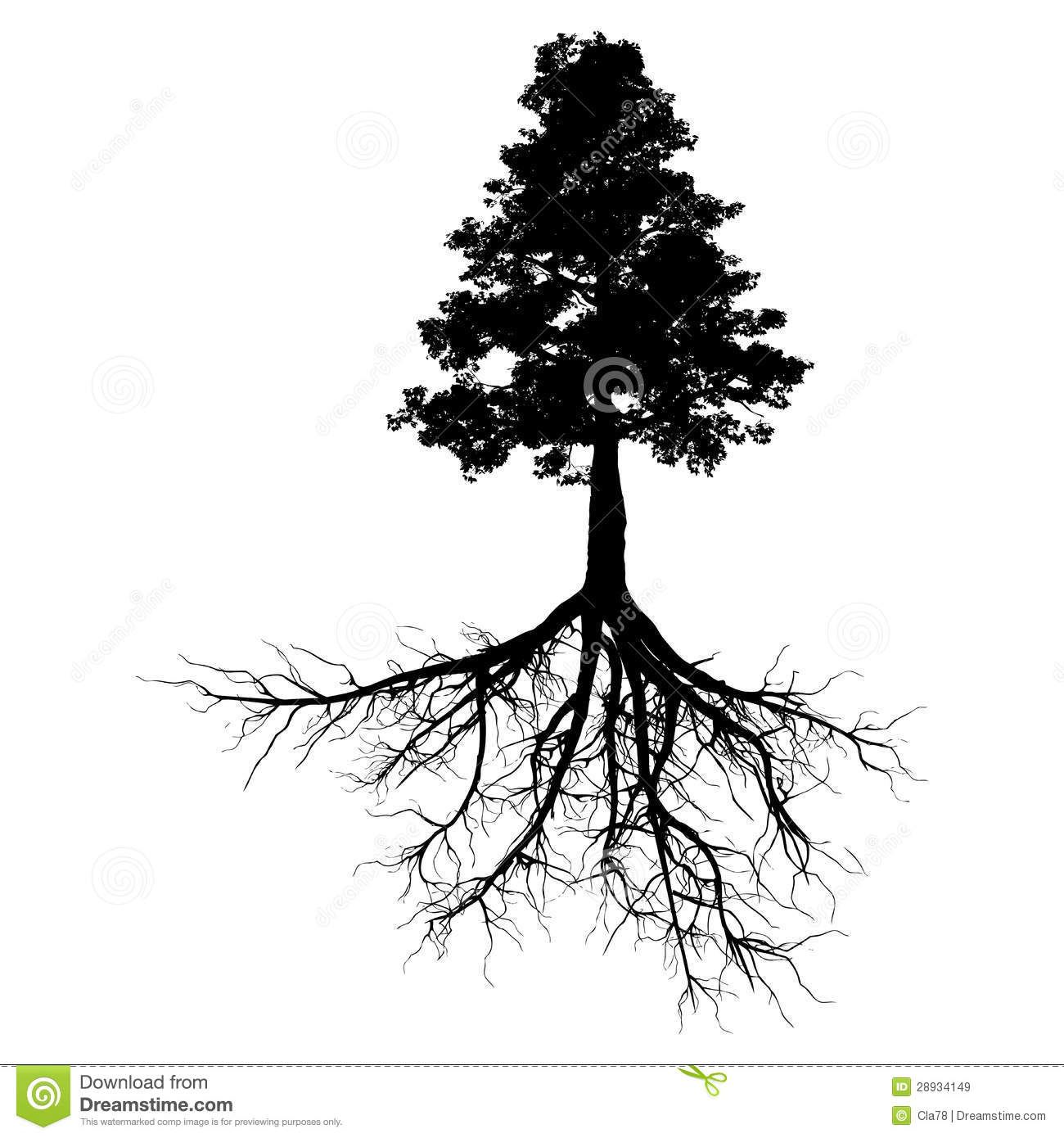 Black Tree And Roots Stock Illustration Illustration Of Life 55604403