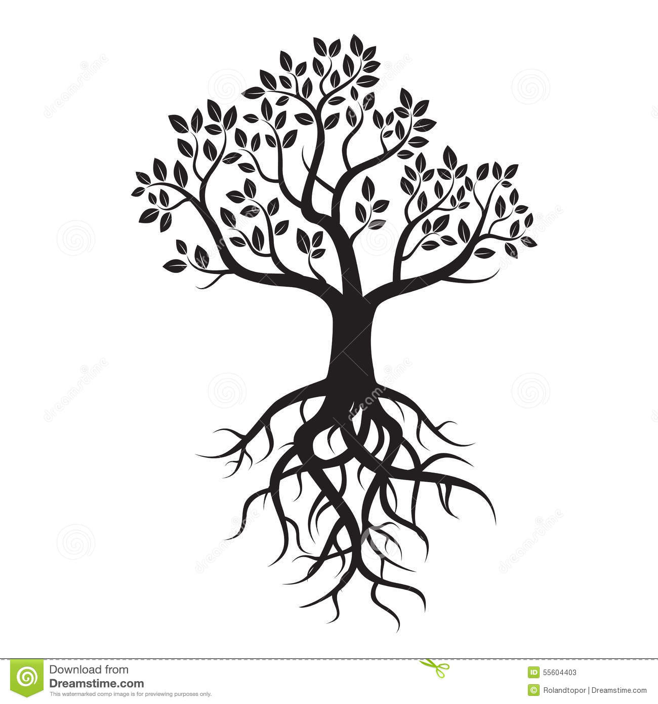 Black Tree And Roots Stock Illustration Image 55604403