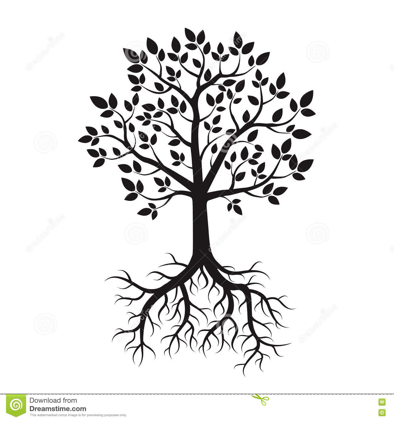 black tree and roots vector illustration stock illustration rh dreamstime com tree with roots vector free tree outline with roots vector