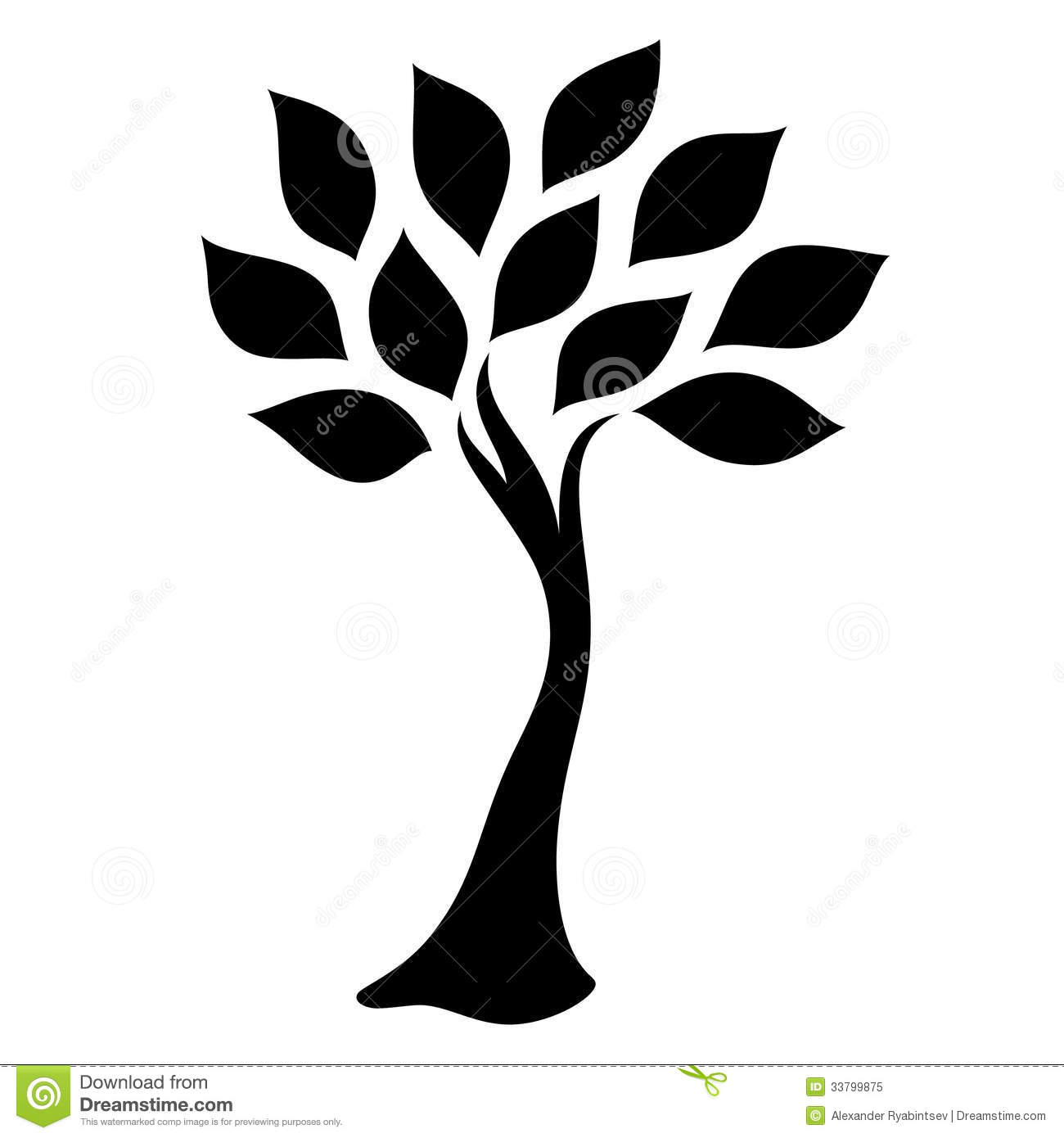 Black Tree Silhouette Isolated On White Background Royalty Free Stock ...