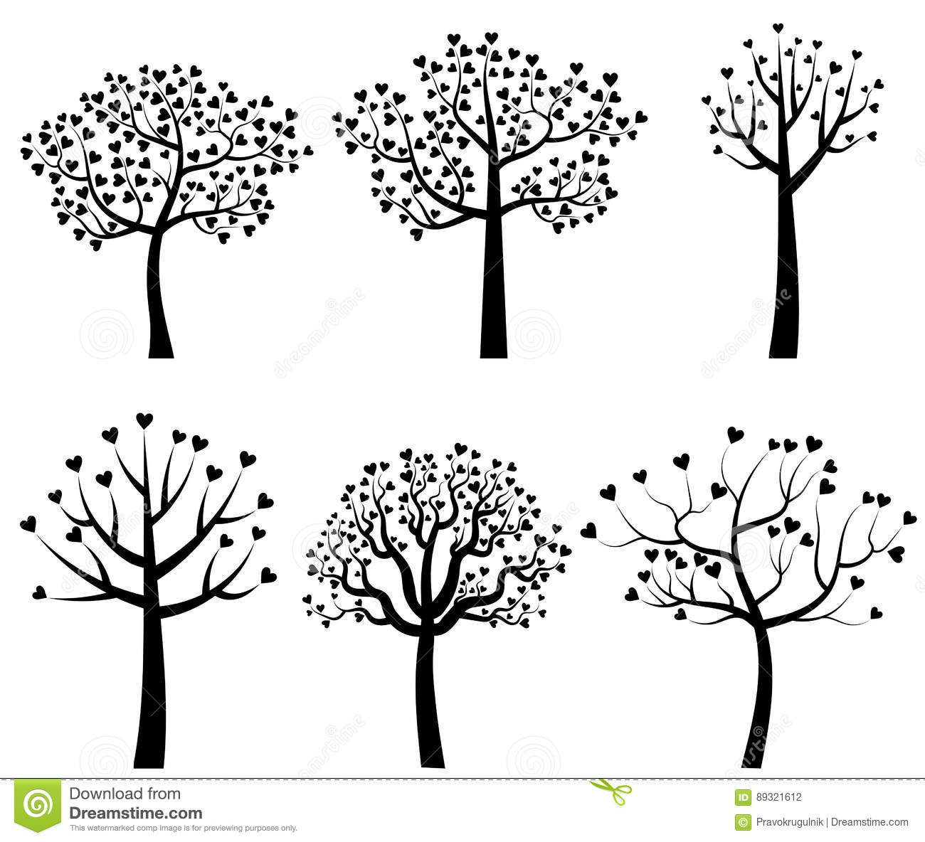 Black Tree Silhouettes With Heart Shaped Leaves Stock ...