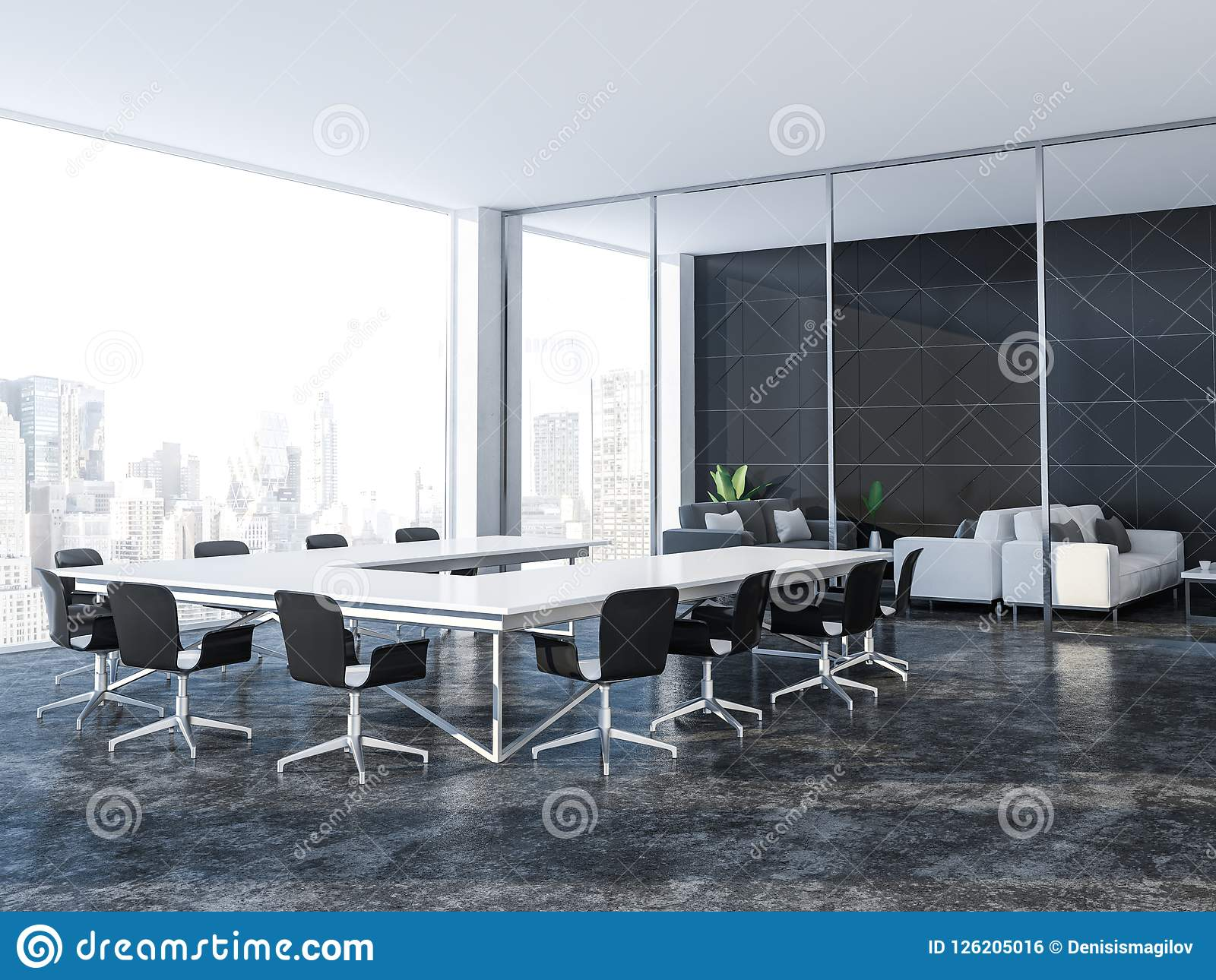 black triangle tile conference room and lounge stock illustration