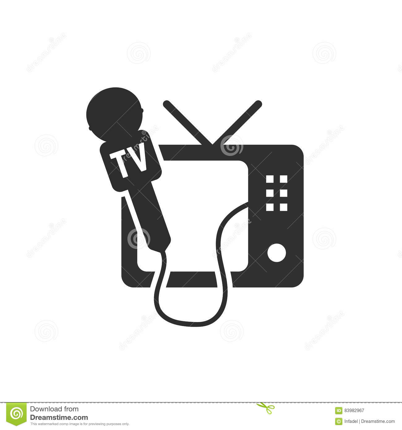 Black Tv And Microphone Icon Stock Vector - Illustration of icon ...