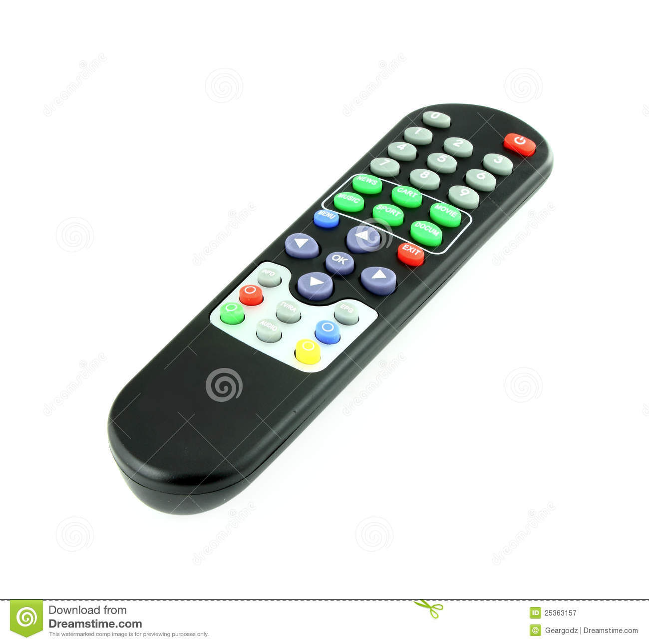 Tv Remote Clipart Black tv remote control on white royalty free stock  #24A744