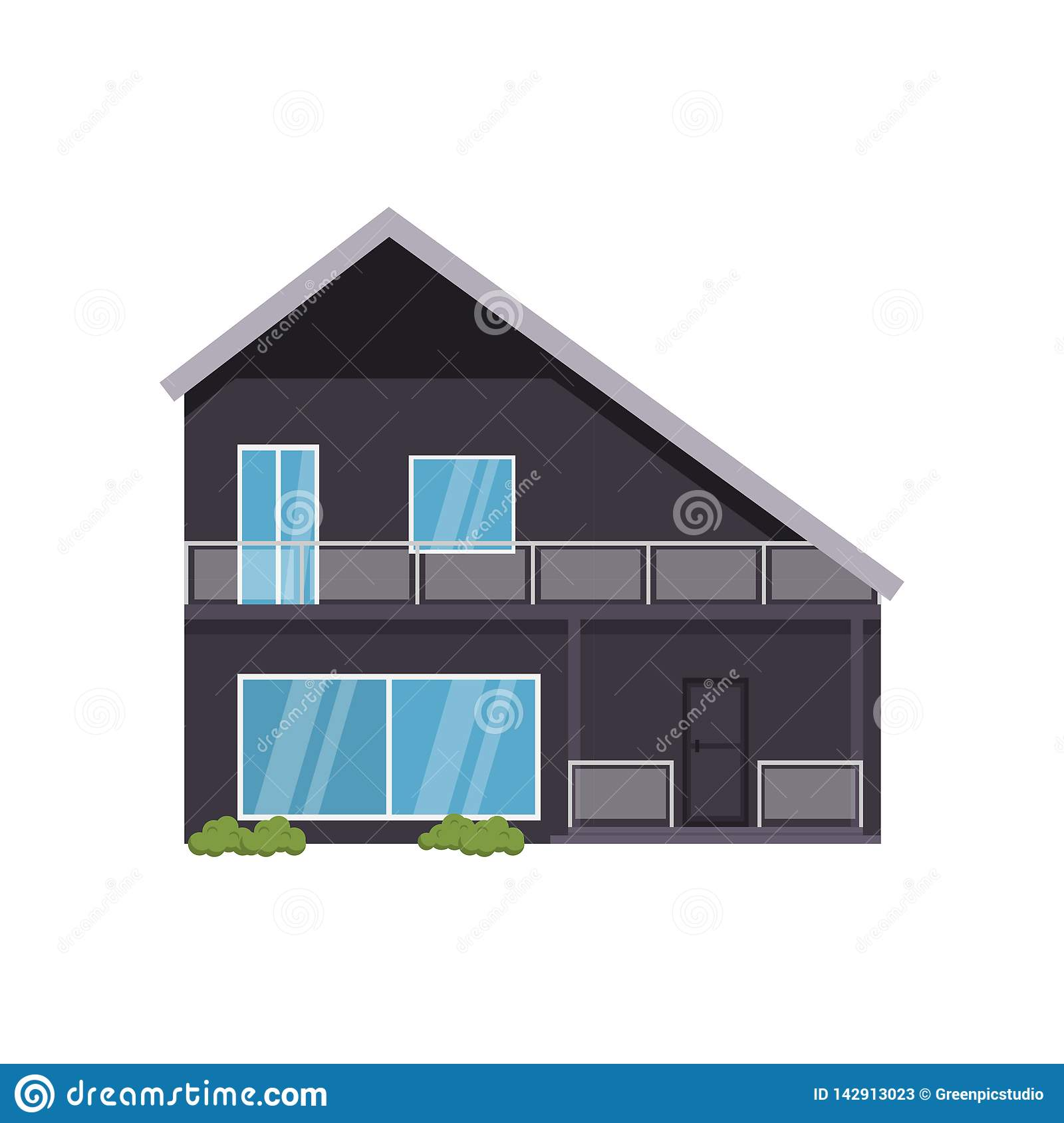Modern House Of Non Standard Architecture Isolated On White Background Stock Vector Illustration Of Flat Luxury 142913023