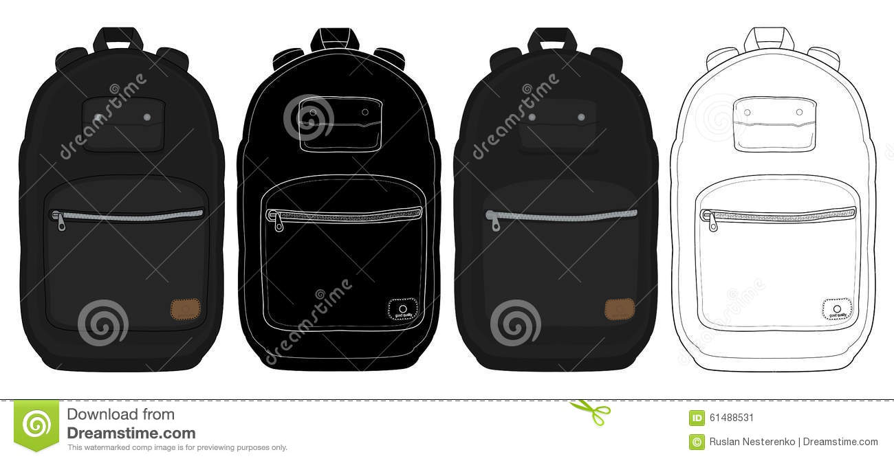 73a2e9e9549 Black urban backpack set. Color, contour lines, silhouette. Vector clip art  illustrations isolated