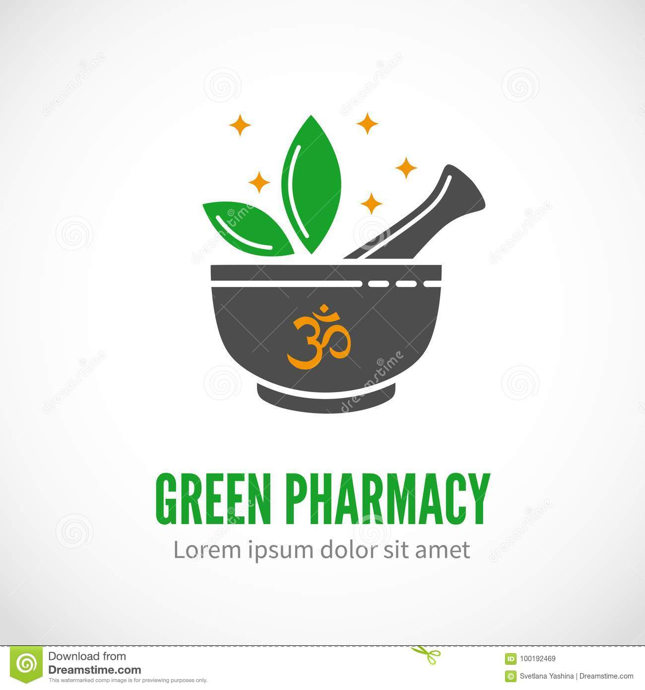 Pharmacy Mortar And Pestle Logo Vector Illustration