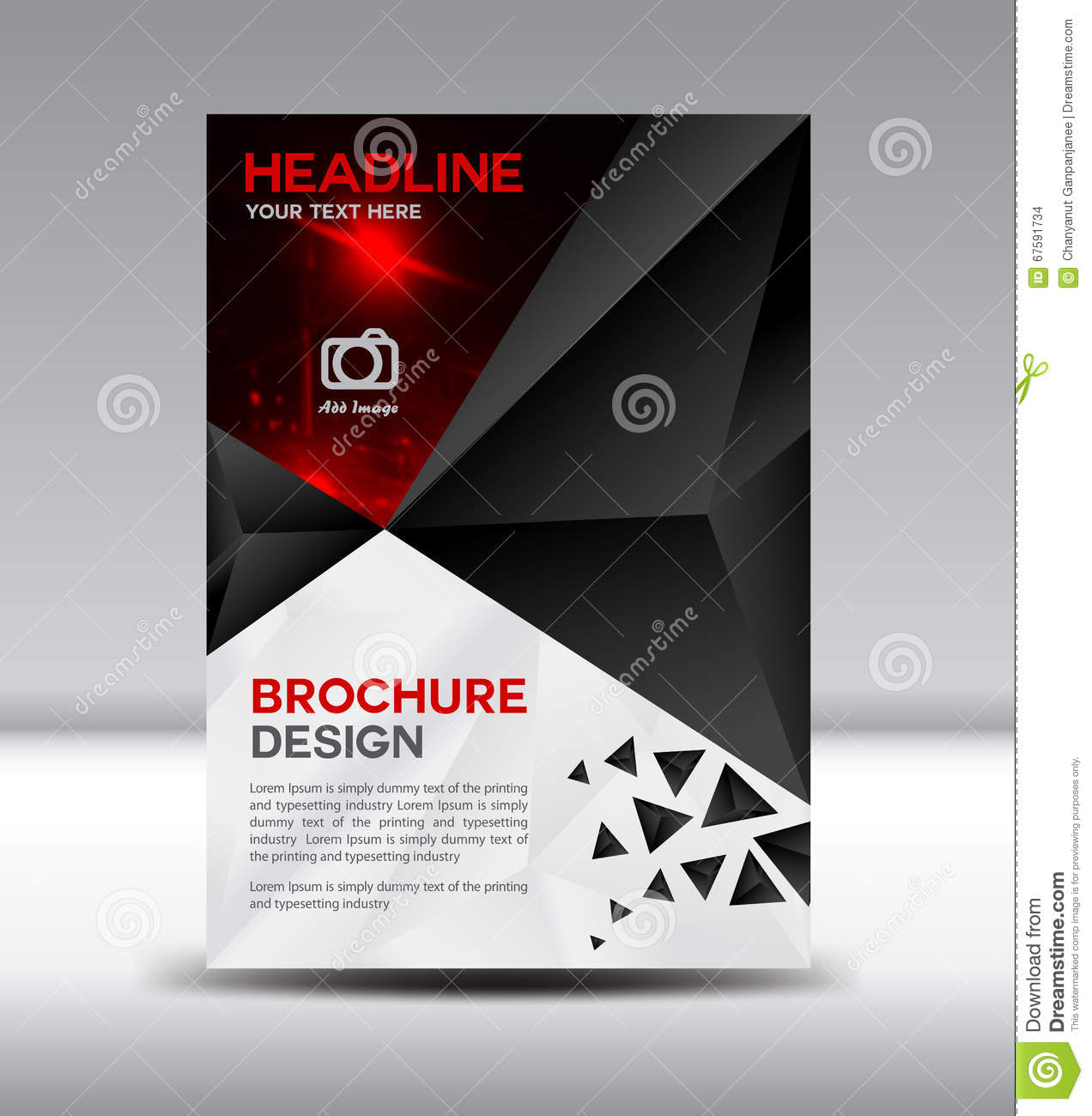 Black vector brochure flyer magazine and leaflet design on for Black brochure template