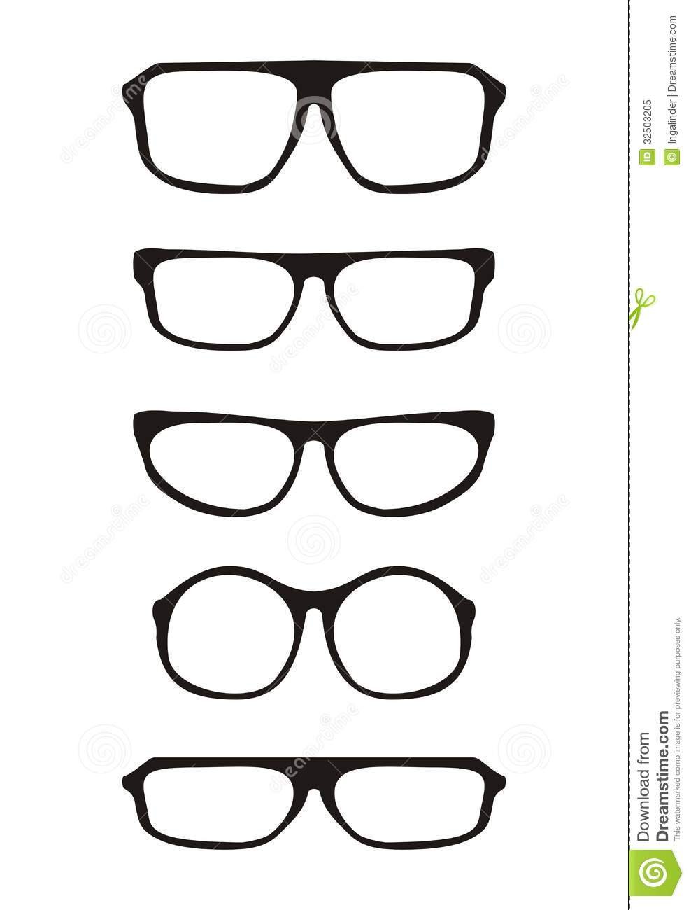 Glasses Frames Vector : Black Vector Glasses Set With Thick Holder Retro H Royalty ...