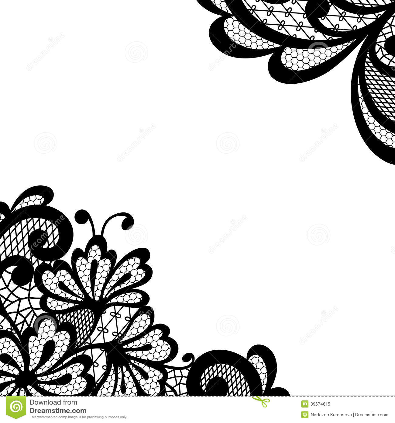 Black Vector Lace Corner Stock Vector - Image: 39674615