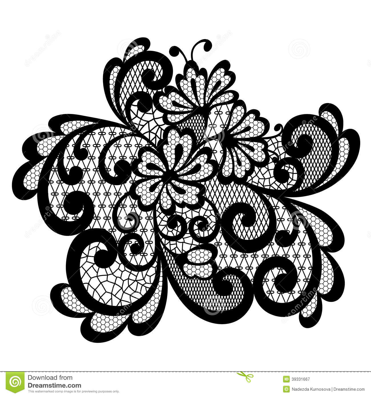 Black vector lace ornament stock vector. Image of abstract