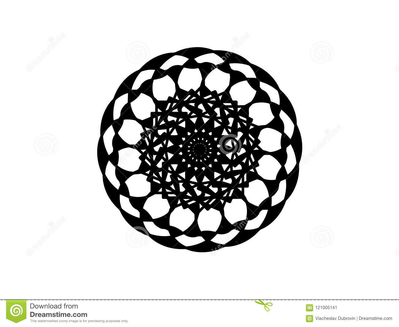 Black Vector Mandala On White Background Abstract Decor Element Round Stamp Template
