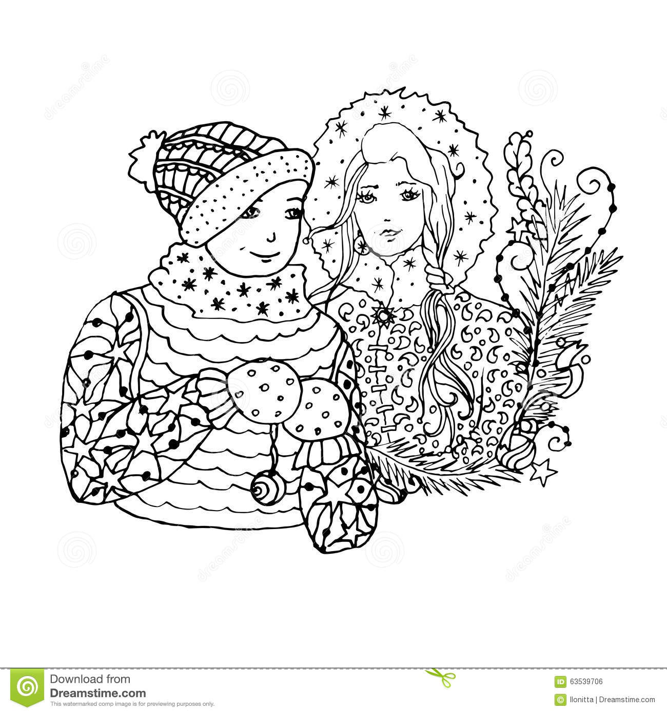 black vector mono color illustration with brother and sister for merry christmas and happy new year