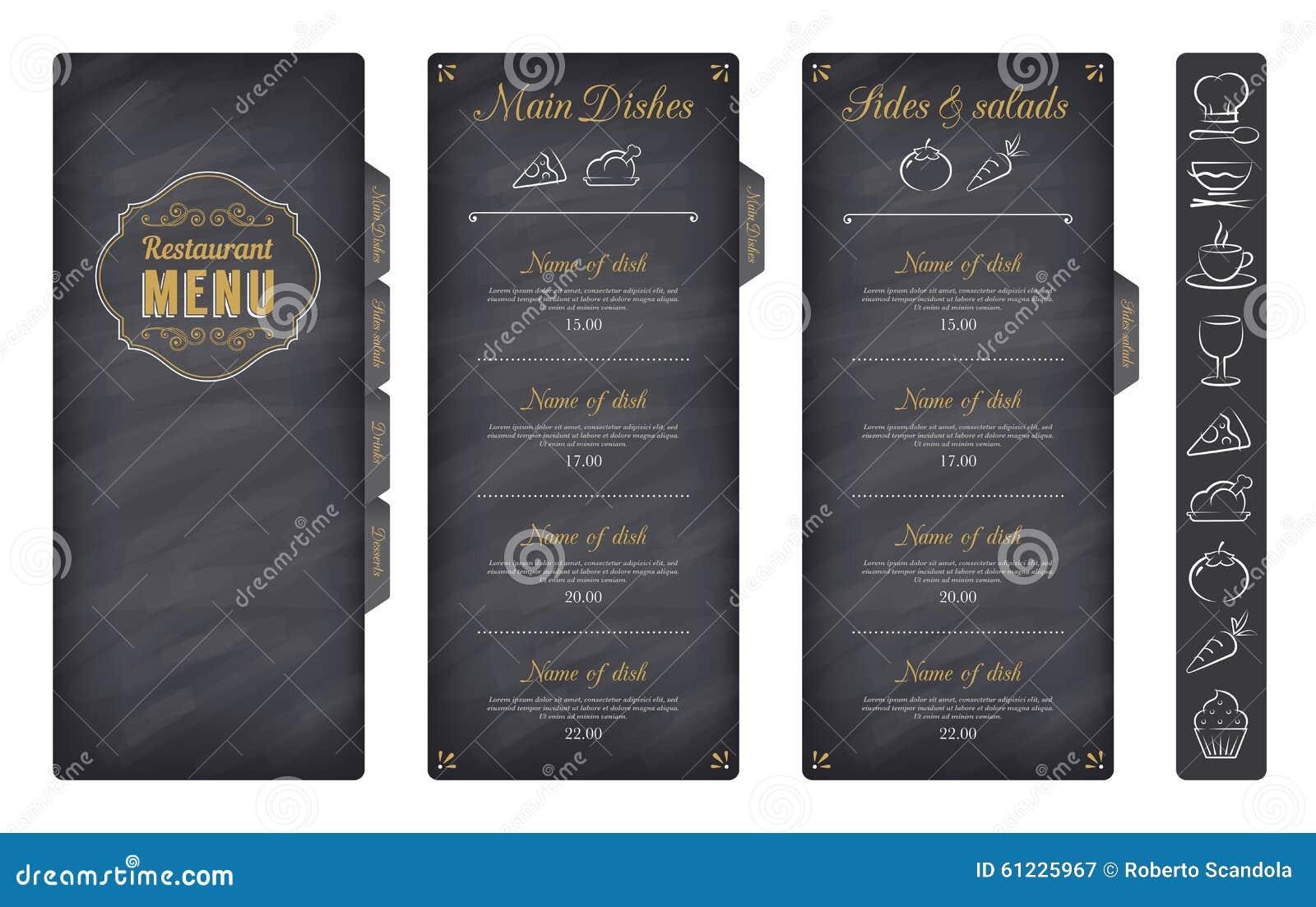 Black Vector Restaurant Menu Template Stock Vector - Image ...