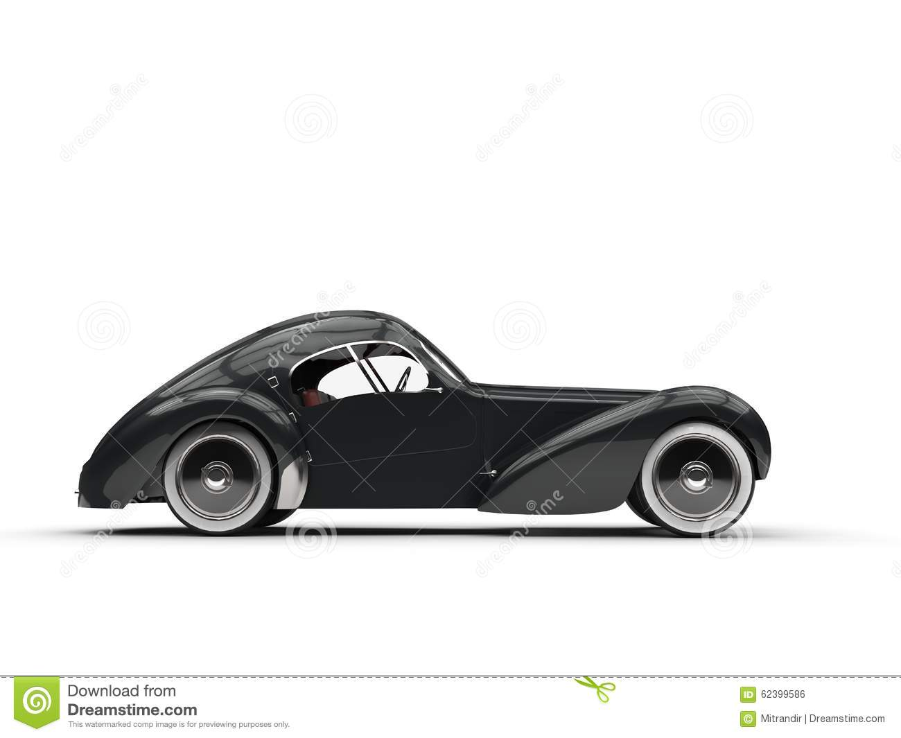 Black Vintage Concept Car Left Side View Editorial Photo Image