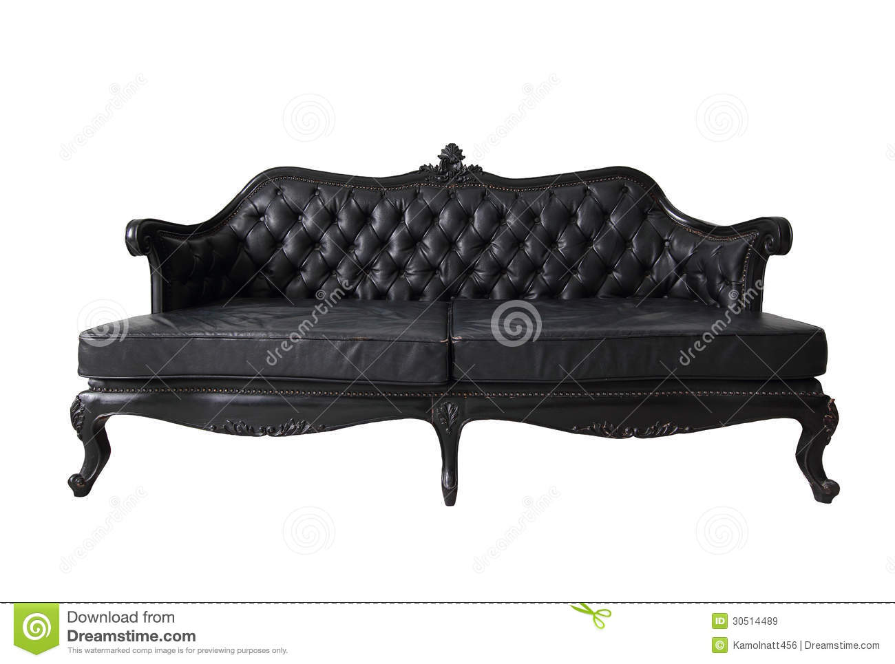 Black Vintage Luxury Sofa With Clipping Path Stock Image Image Of