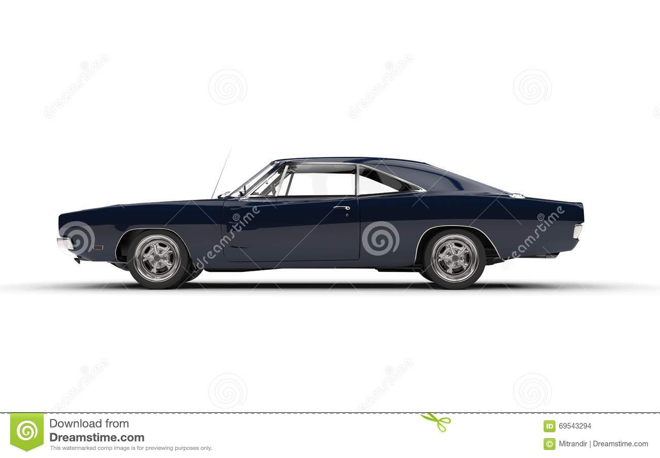 black vintage muscle car side view stock photo image