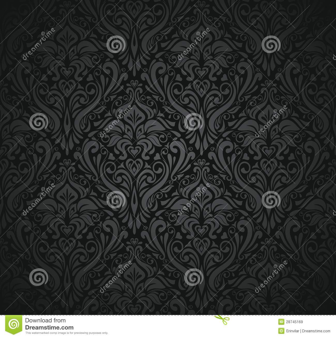 Black vintage wallpaper stock vector illustration of for Papel de pared decorativo