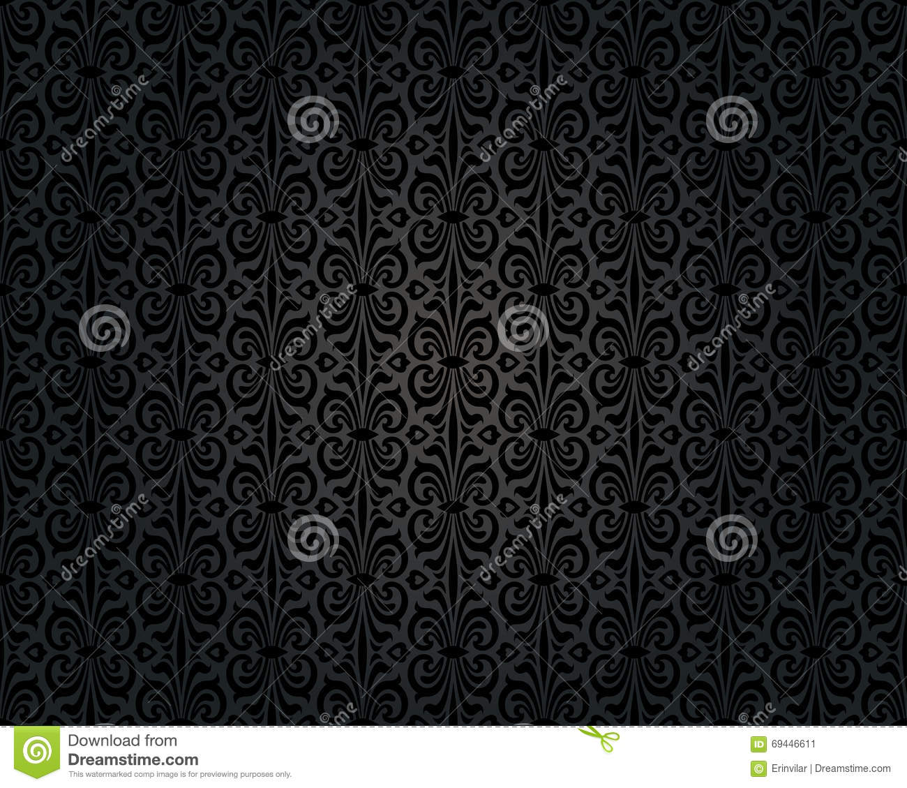 Black Vintage Wallpaper Background Repetitive Design Stock ...
