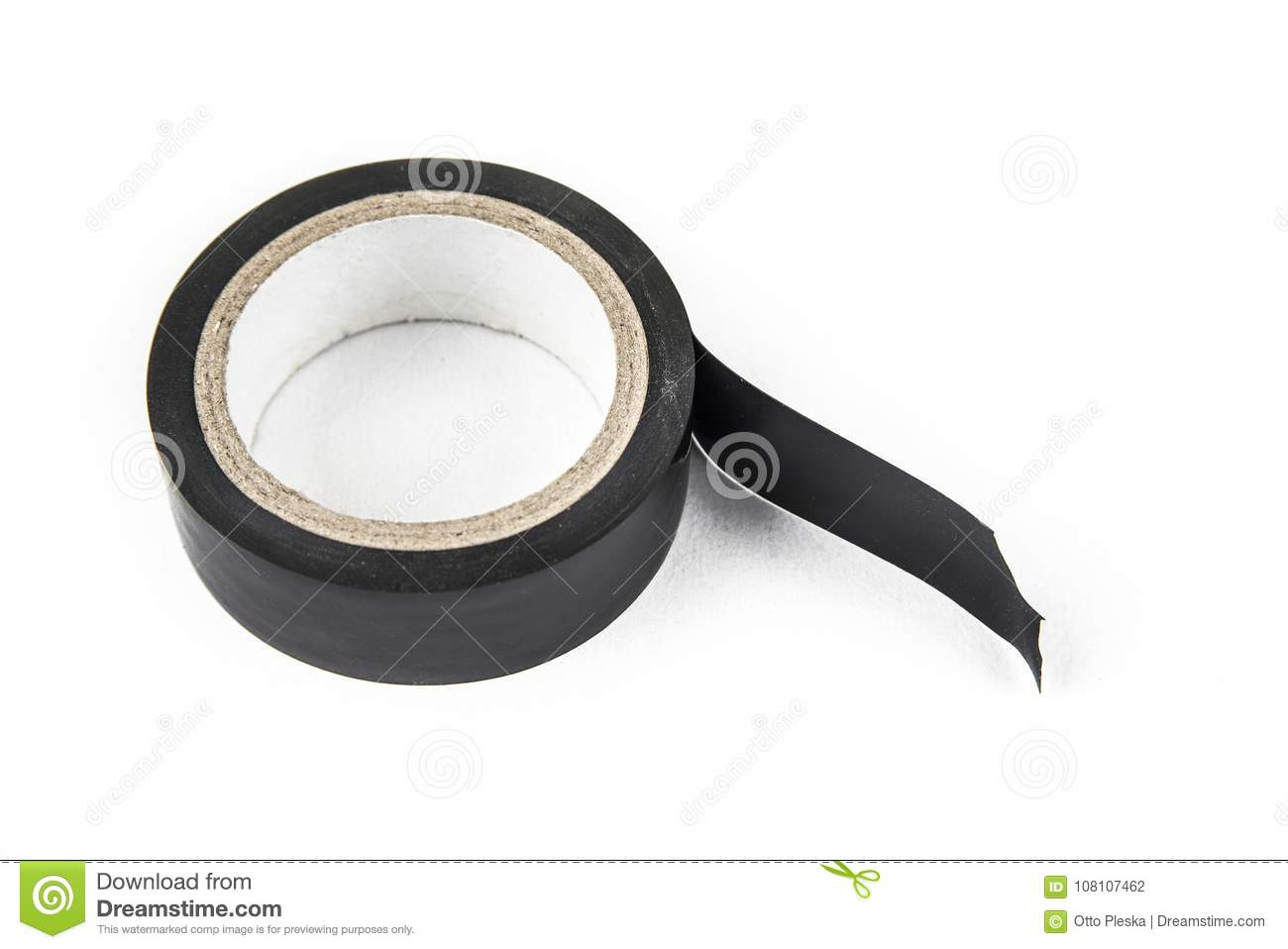 Black Vinyl Insulating Electric Tape On The White Background. Stock ...