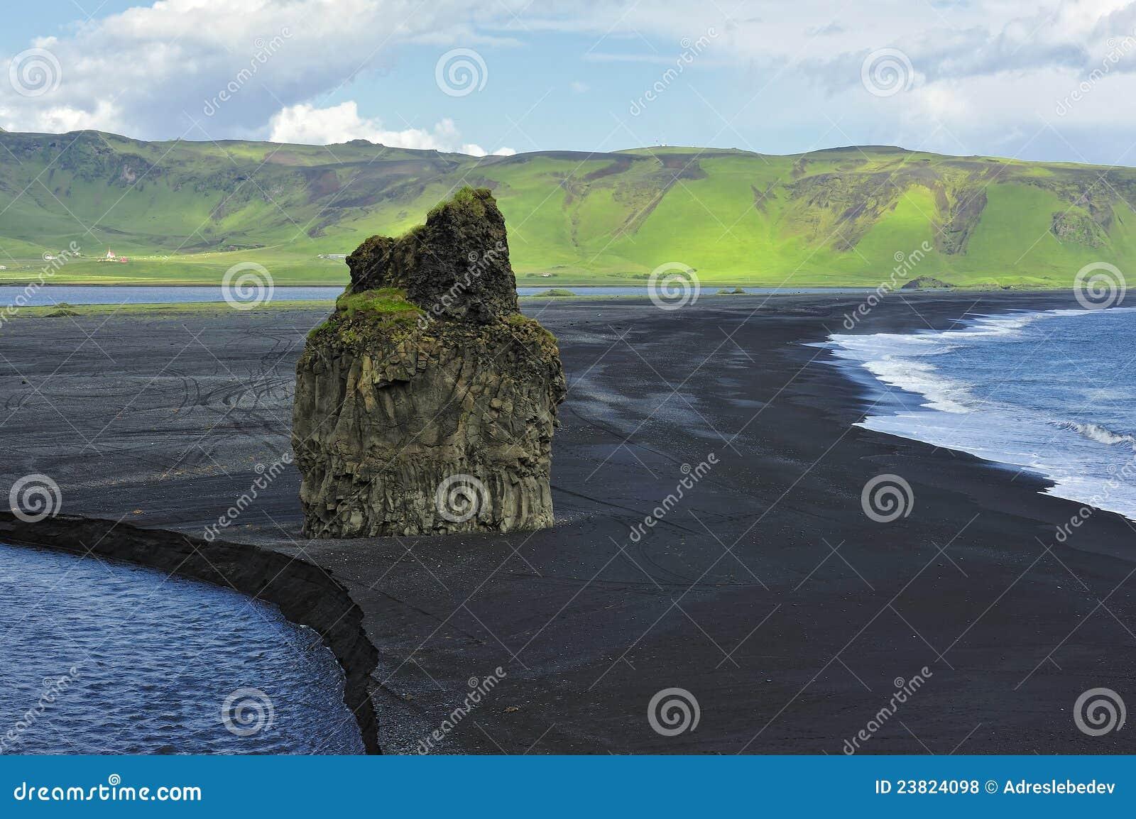 Black volcanic sand beach at Dyrholaey, Iceland