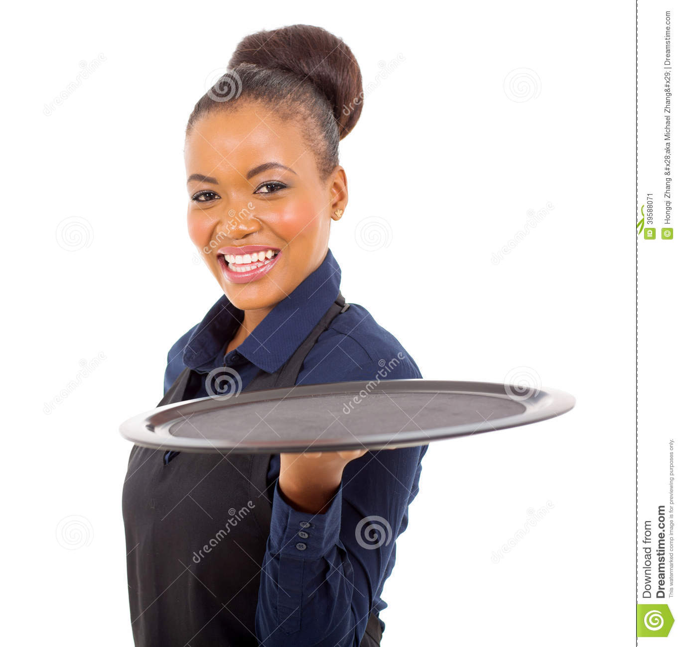 Black Waitress Tray Stock Photo