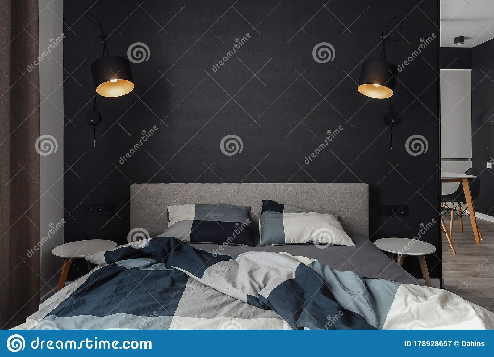 Black Wall With Lamps In The Bedroom Pillows And Bedding Comfort And Coziness At Home Stock Image Image Of Indoor Linen 178928657