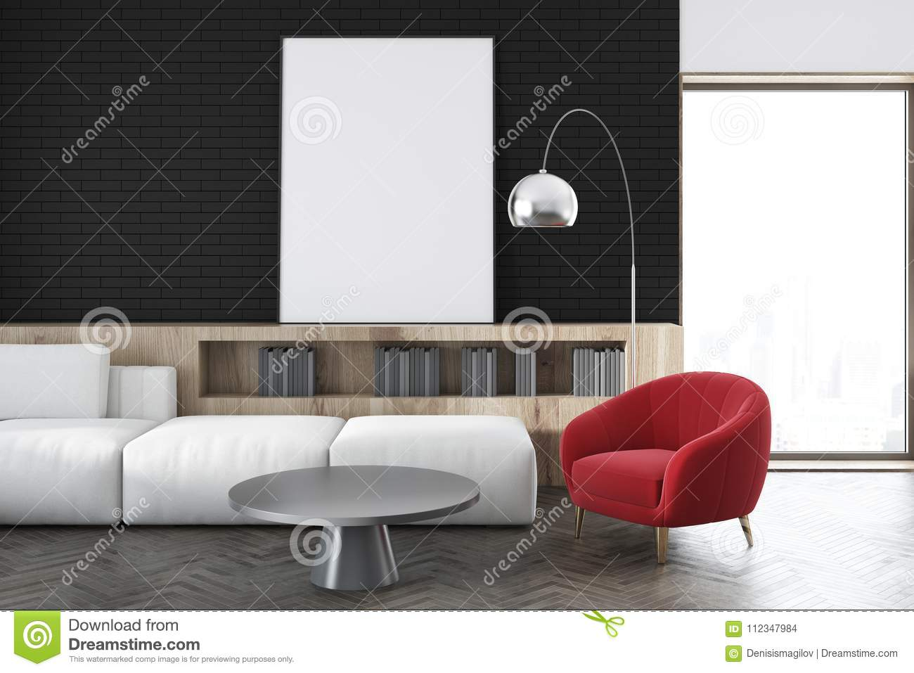 Black Wall Living Room White Sofa Poster Close Up Stock