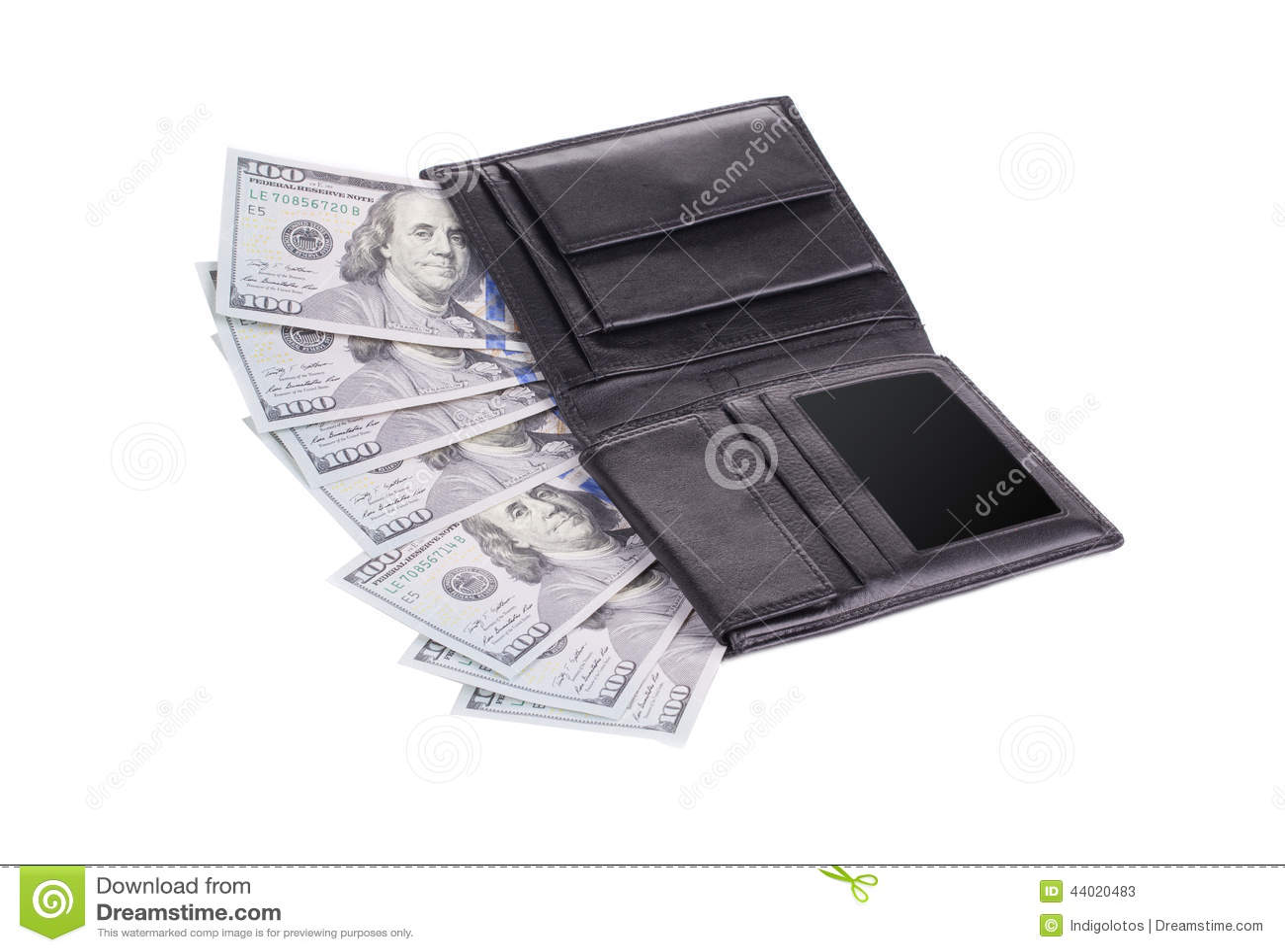 Black Wallet Full Of Money. Stock Photo - Image: 44020483