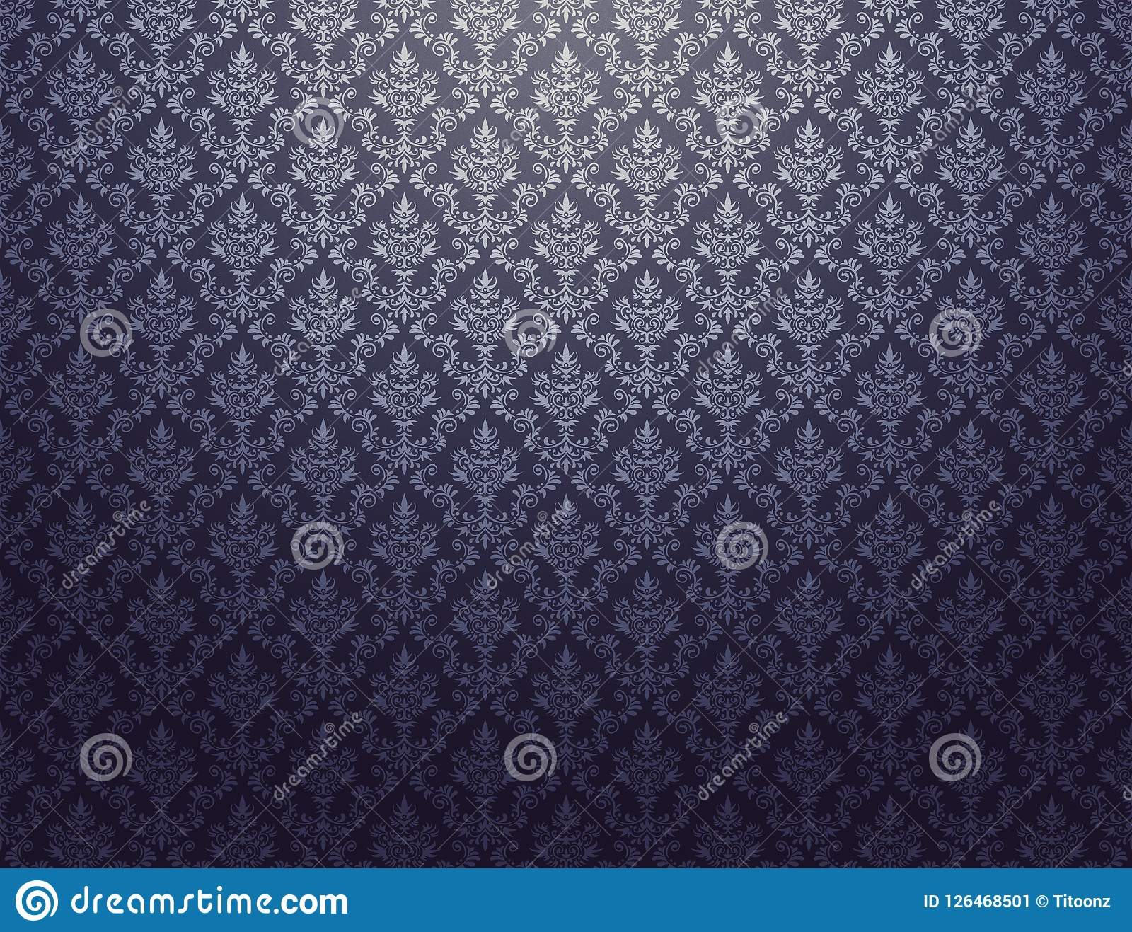 Black Wallpaper With Silver Damask Pattern Stock Illustration