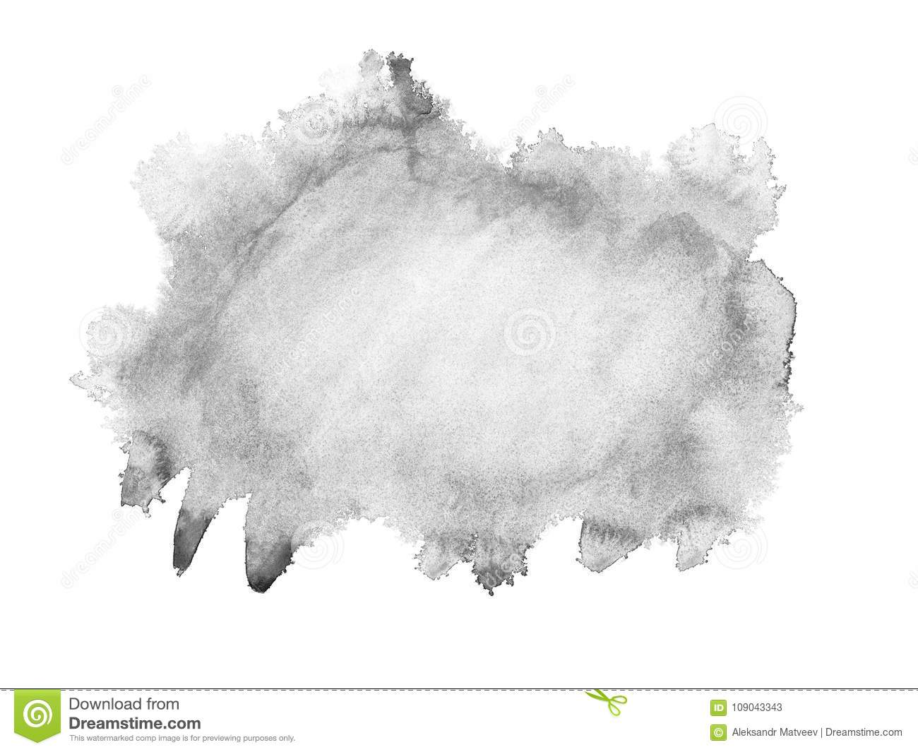 Black watercolor hand drawn isolated wash spot on white background for text design, web. Abstract brush paint paper grain texture