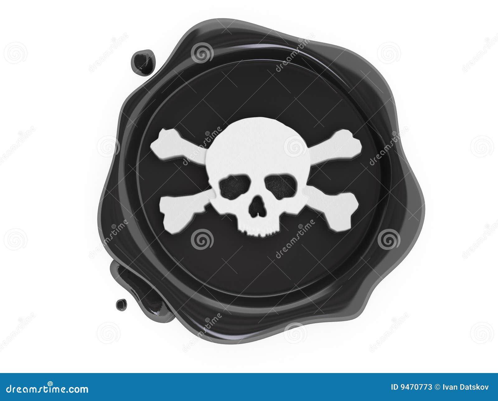 Black Wax Pirates Skulls Symbol White Stock Illustration