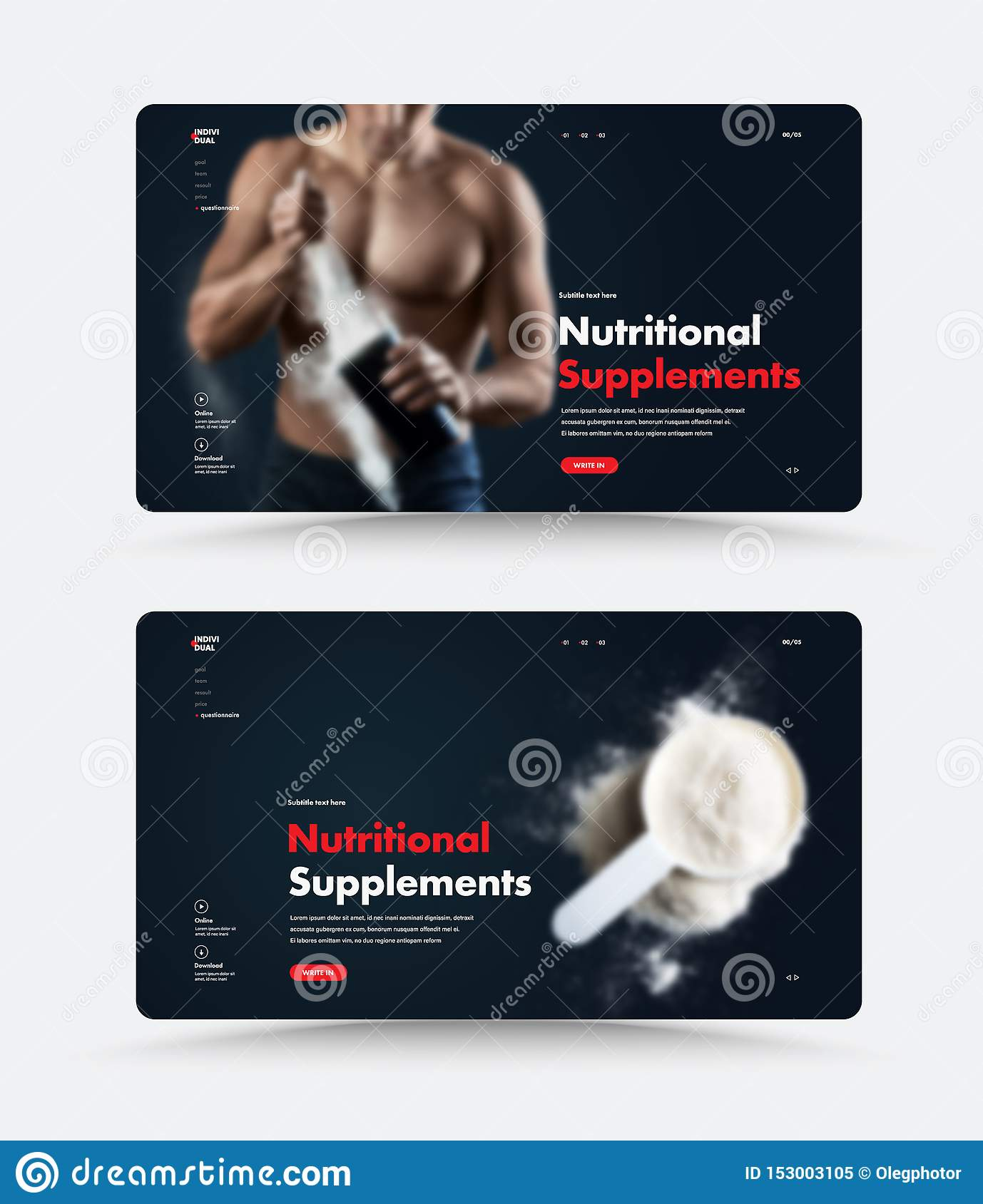 black web page design sports nutrition templates photo man shaker spoon protein gainer vector illustration