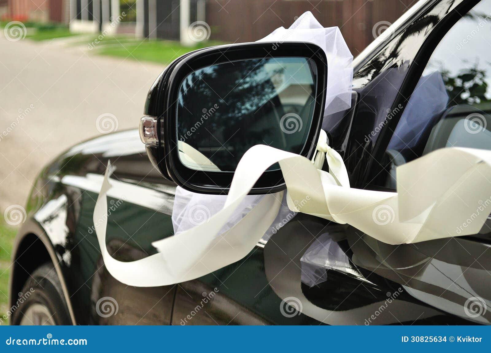 Black Wedding Car Decorated With Ribbon Stock Photo
