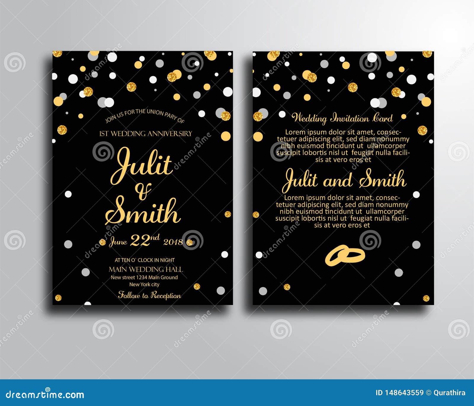 Black Wedding Invitation Card Template Stock Illustration - Illustration of  save, black: 148643559