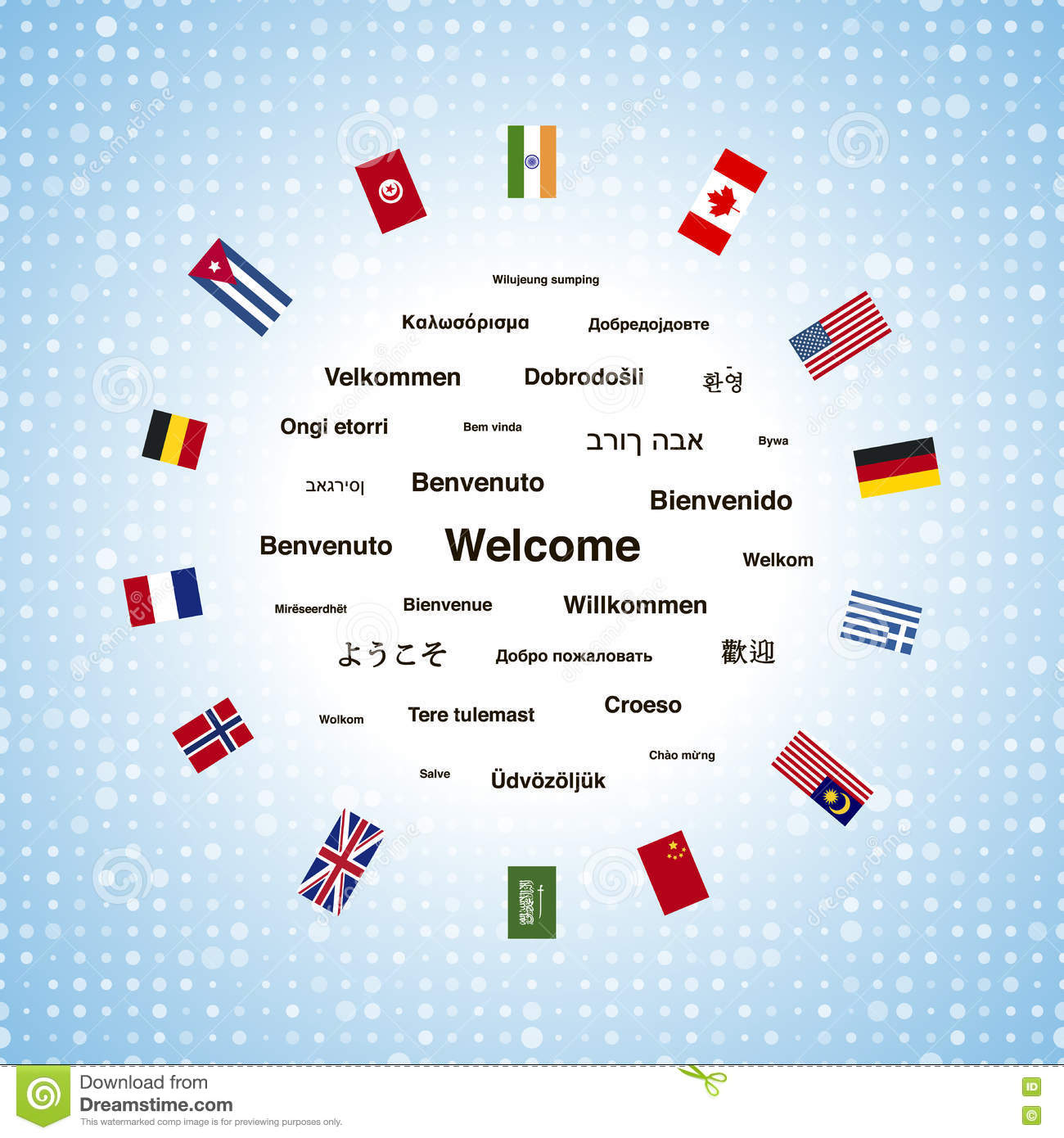 Black Welcome Phrases In Different Languages Of The World And Countries Flags Stock Vector Illustration Of Global Greek 76035959