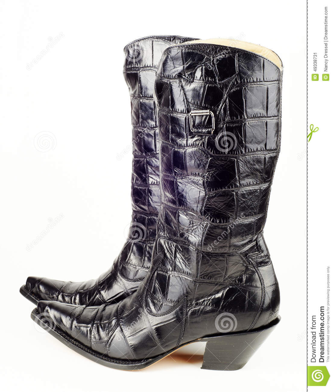eb5b1a77ec7 A new pair of black cowboy western boots with crocodile leather for women.  Image taken in studio isolated on white background.