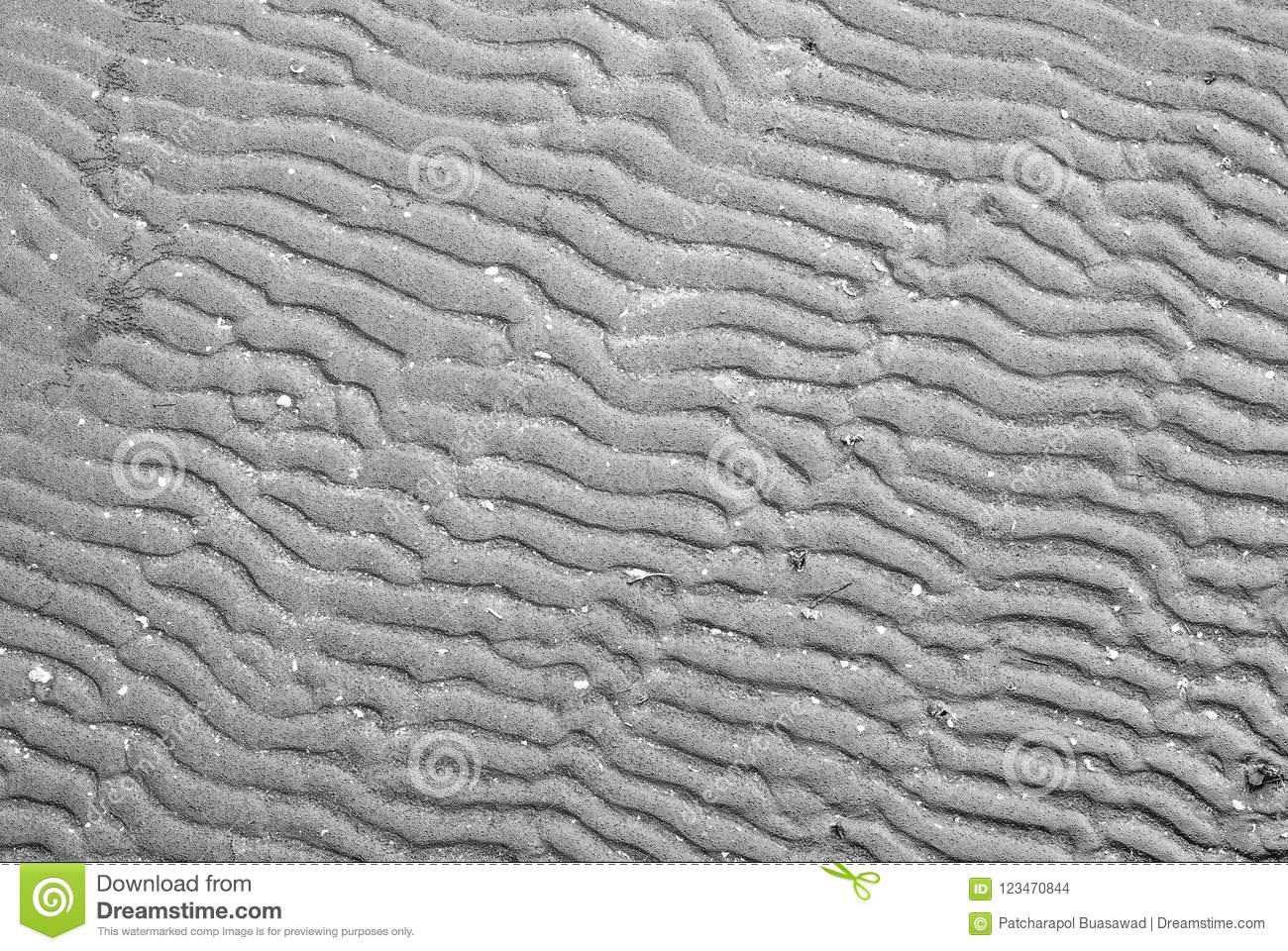Black wet beach sand form in curve-line pattern for abstract background, nature beauty