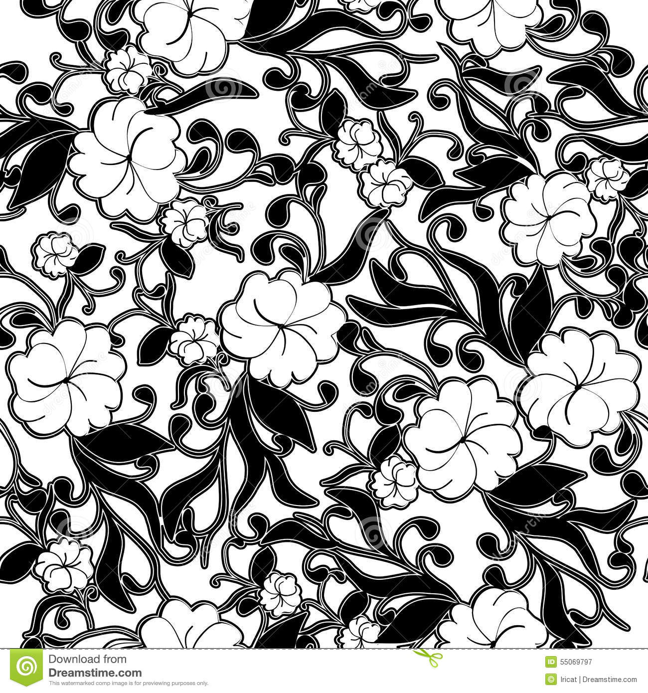 Black And White Abstract Floral Background. Monochrome