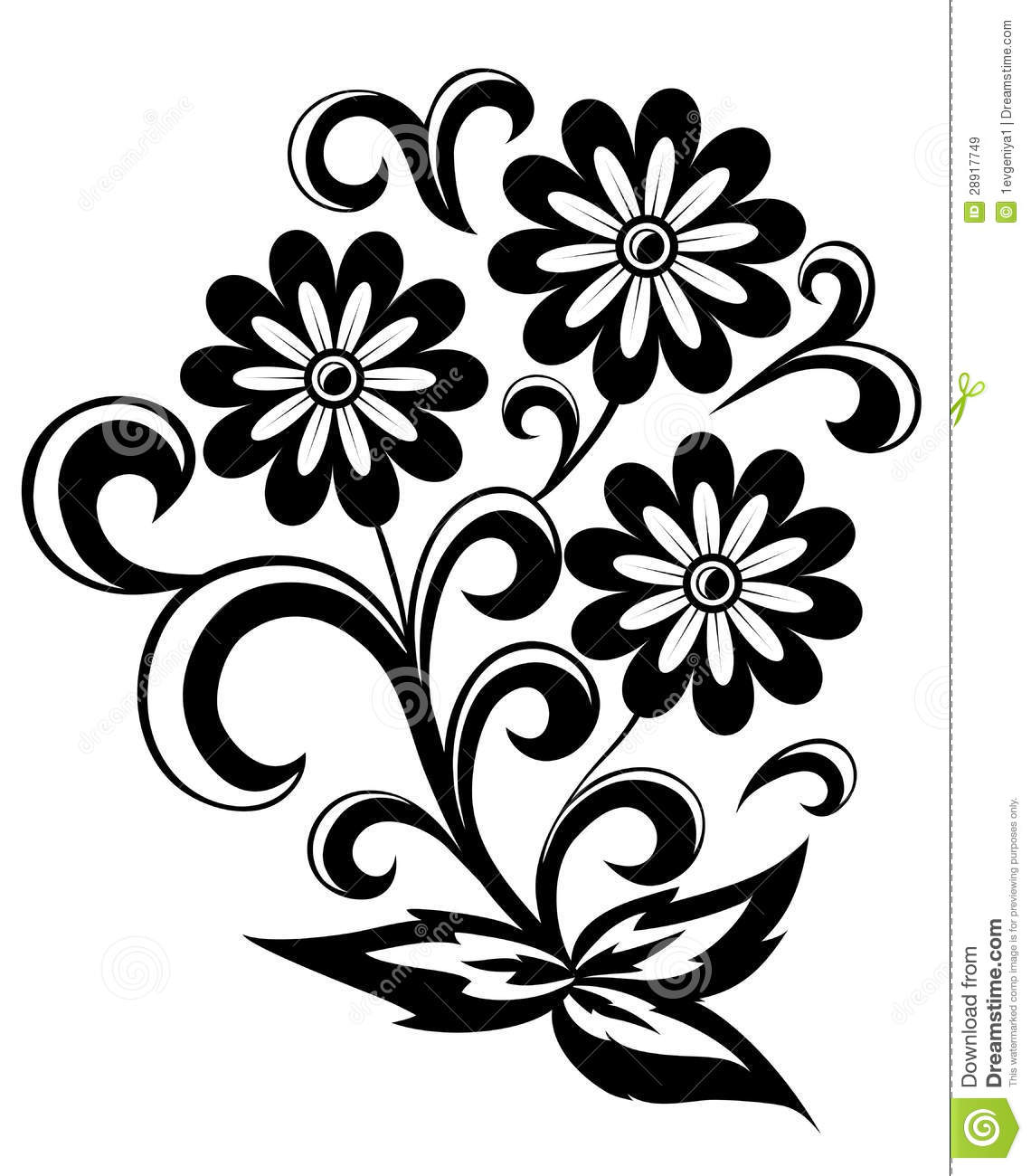 Black Flower On White Background Royalty Free Stock: Black And White Abstract Flower With Leaves And Swirls