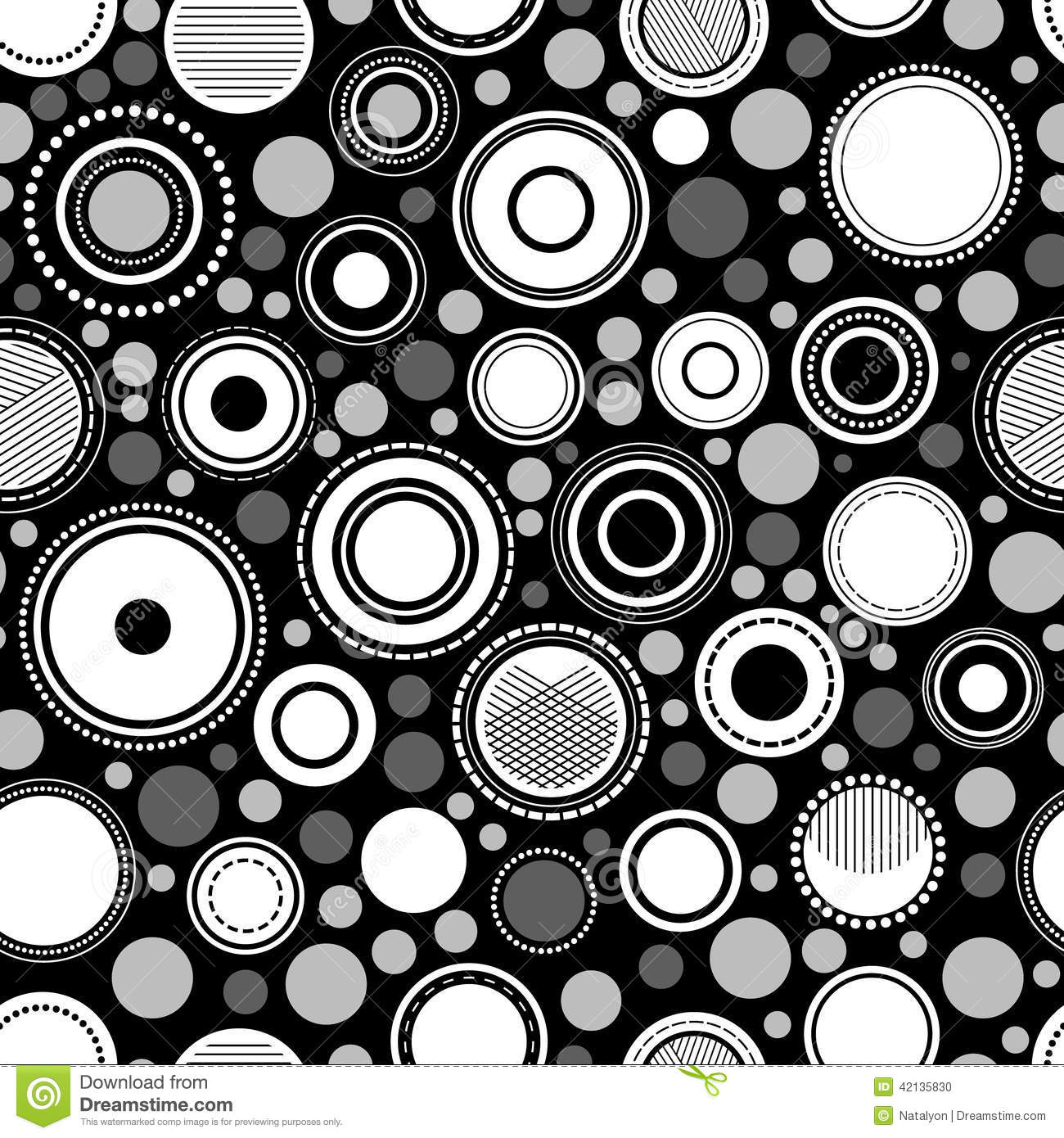 Black and white abstract geometric circles seamless pattern, vector