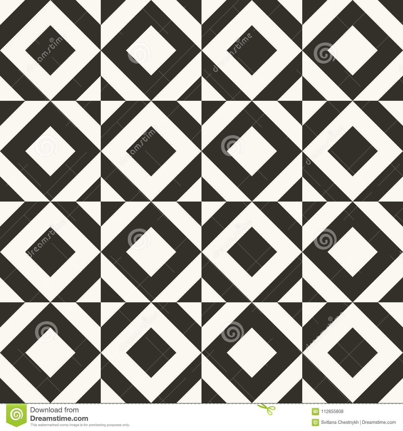 Black and white abstract geometric quilt pattern. Simple minimal graphic backgorund.
